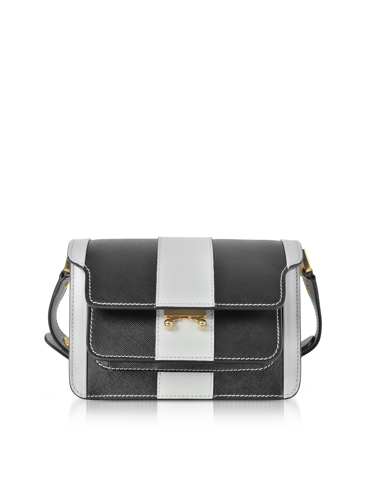 Фото Mini Trunk Bag - Маленькая Сумка из Сафьяновой Кожи в Пеликановую и Черную Полоску. Купить с доставкой