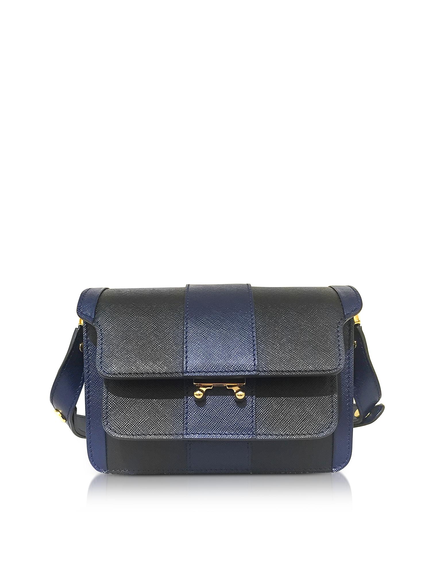 Mini Trunk Bag - Маленькая Сумка из Сафьяновой Кожи с Темно-синими и Черными Полосками