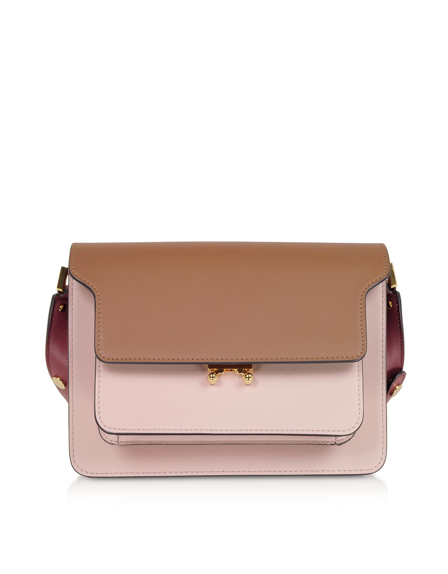 Marni Designer Handbags, Gold Brown, Quartz and Black Cherry TRUNK Bag