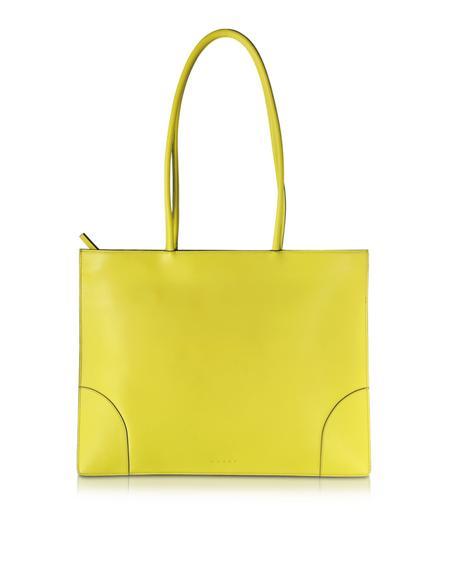 Marni Flat Bag Shopper in Pelle Verde Acido