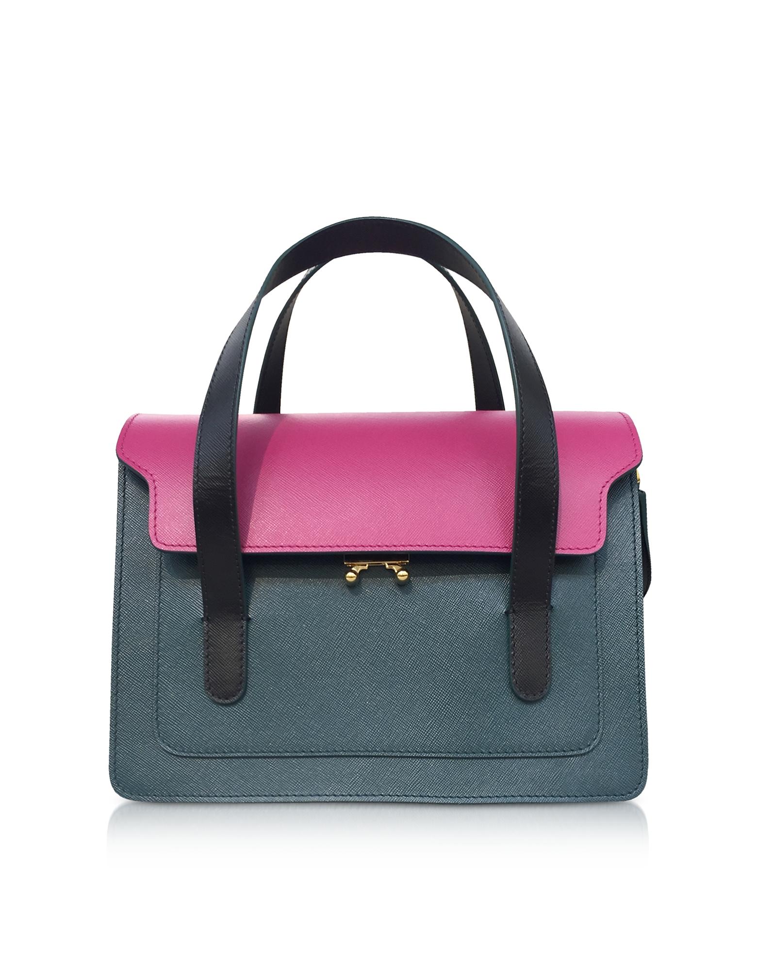 Marni Handbags, Cassis, Petroleum and Black Leather Satchel Bag w/Shoulder Strap