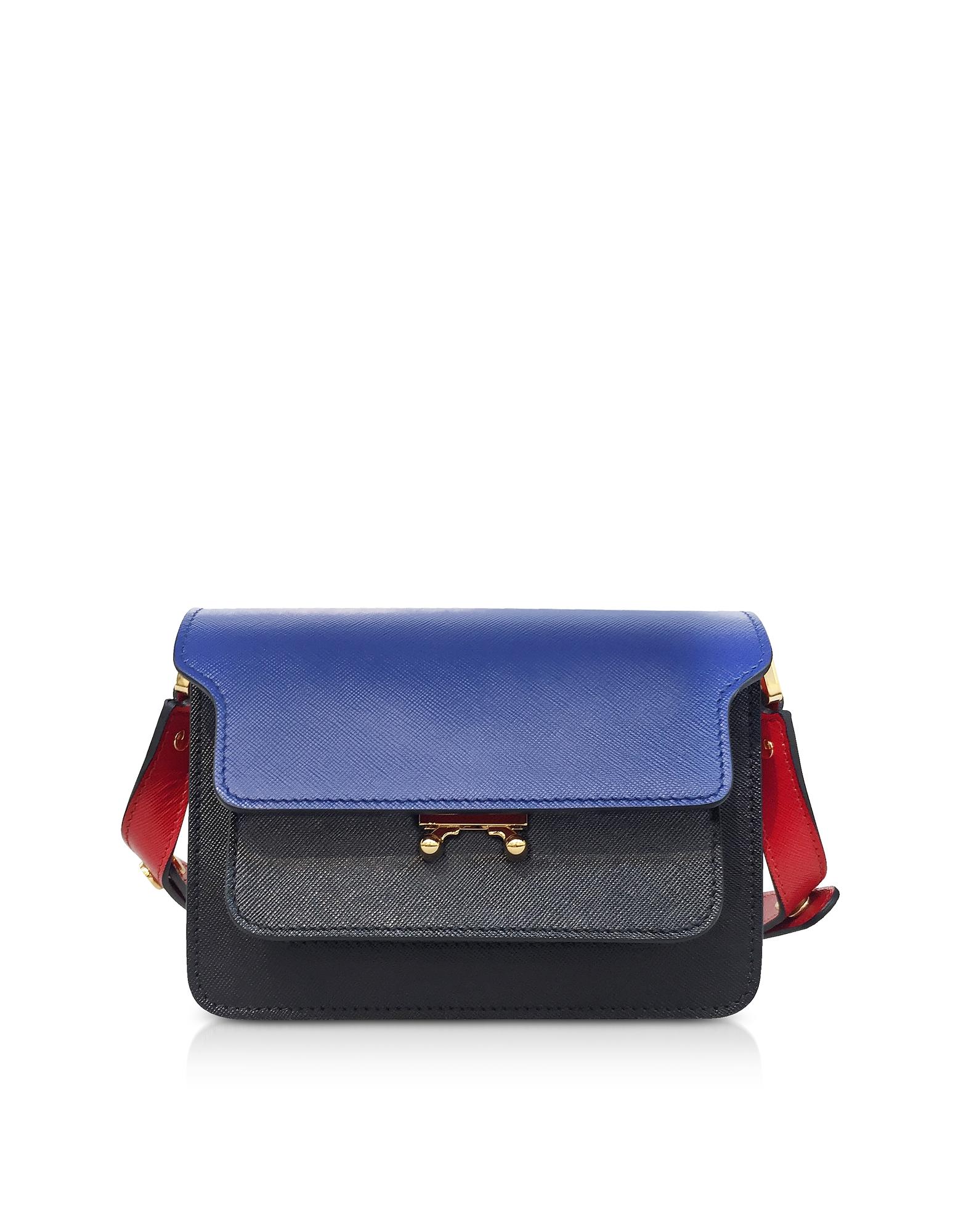 Bluette, Black and Hot Red Leather Trunk Mini Shoulder Bag