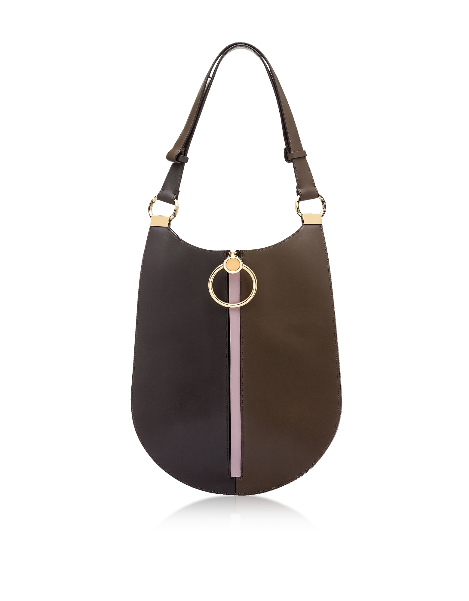 Coffee, Wenge and Powder Pink Leather Earring Shoulder Bag
