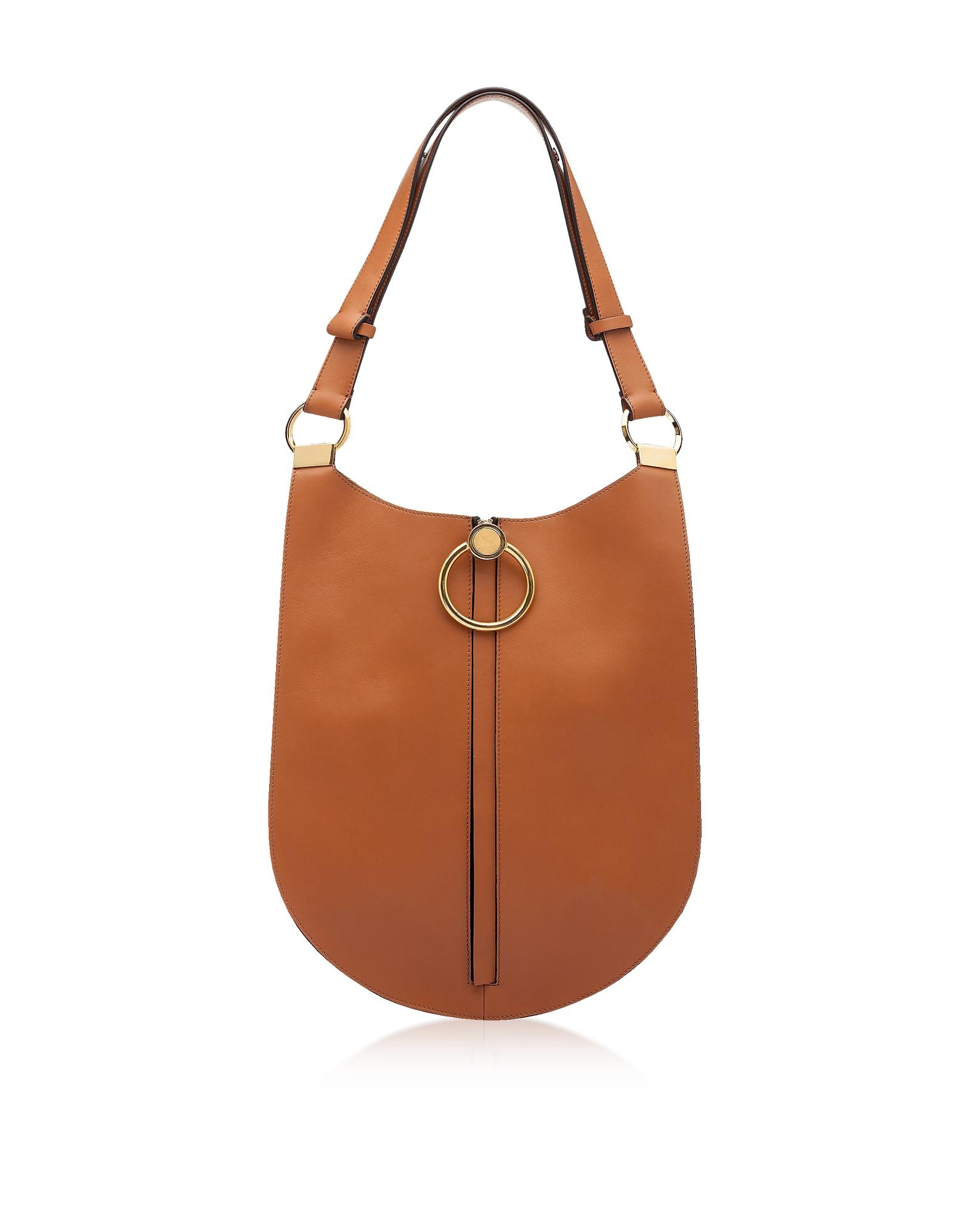 Cinnamon Leather Earring Shoulder Bag