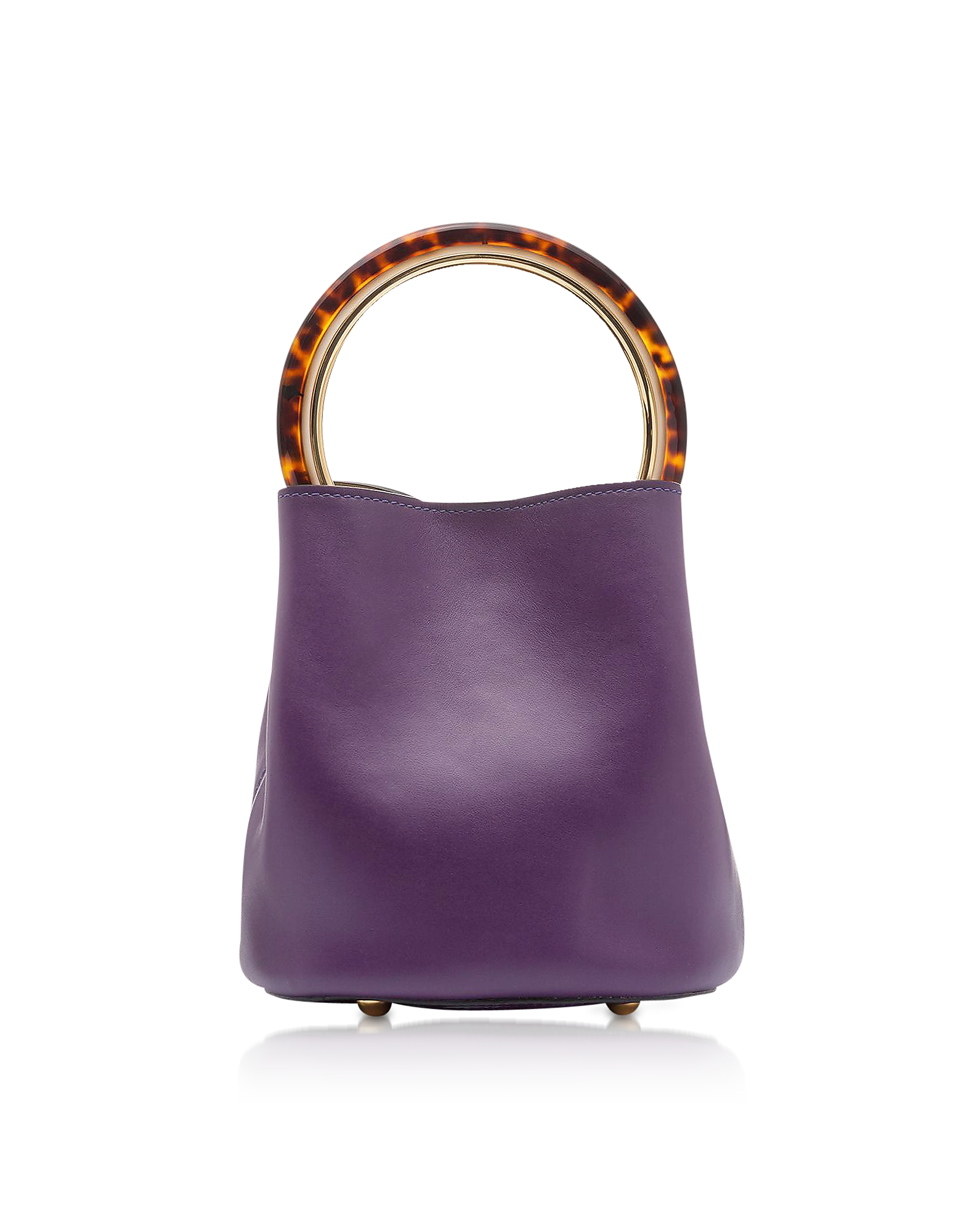 Image of Marni Designer Handbags, Dark Orchid and Ceramic Calfskin Pannier Bag