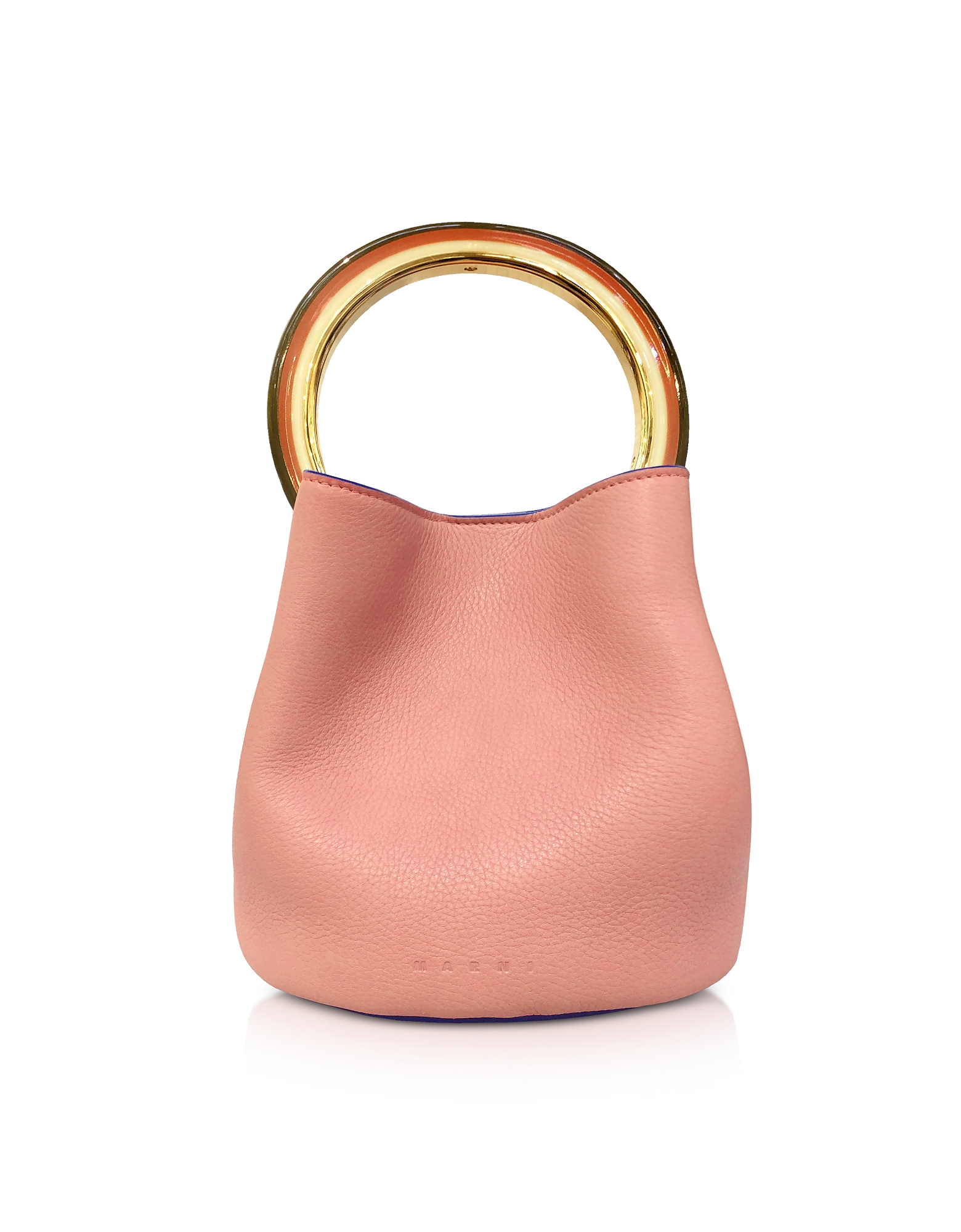 Image of Marni Designer Handbags, Apricot Leather Pannier Bag