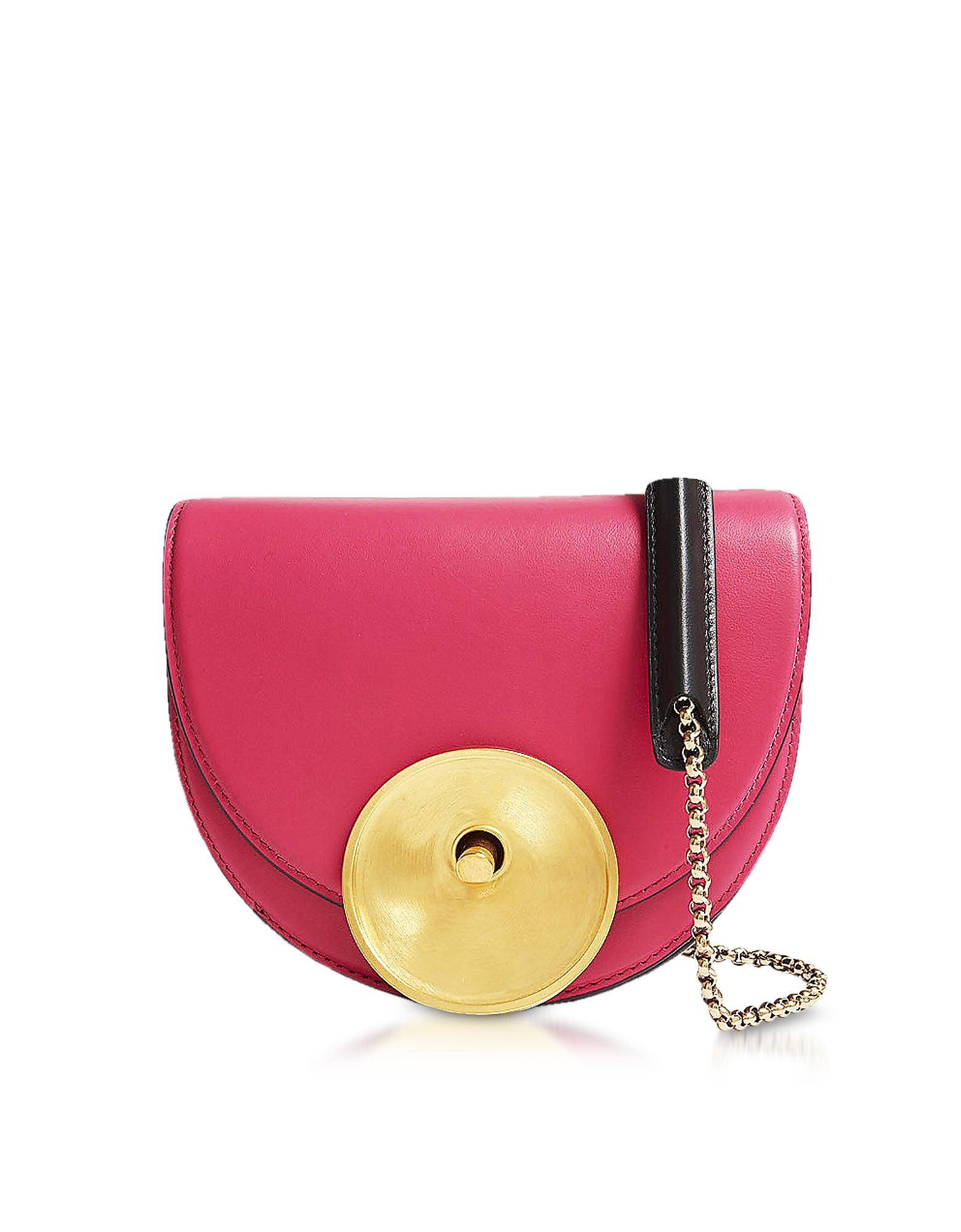 Image of Marni Designer Handbags, Misty Rose, Black and Acid Leather Monile Crossbody Bag