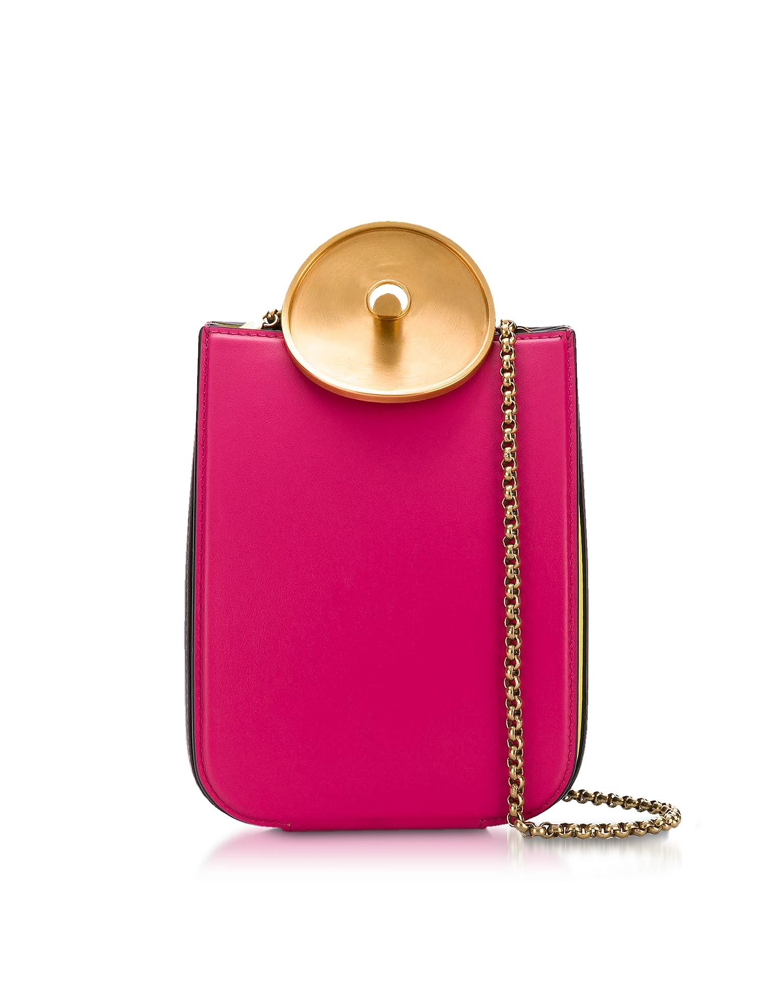 Image of Marni Designer Handbags, Misty Rose, Black and Acid Leather Monile Shoulder Bag