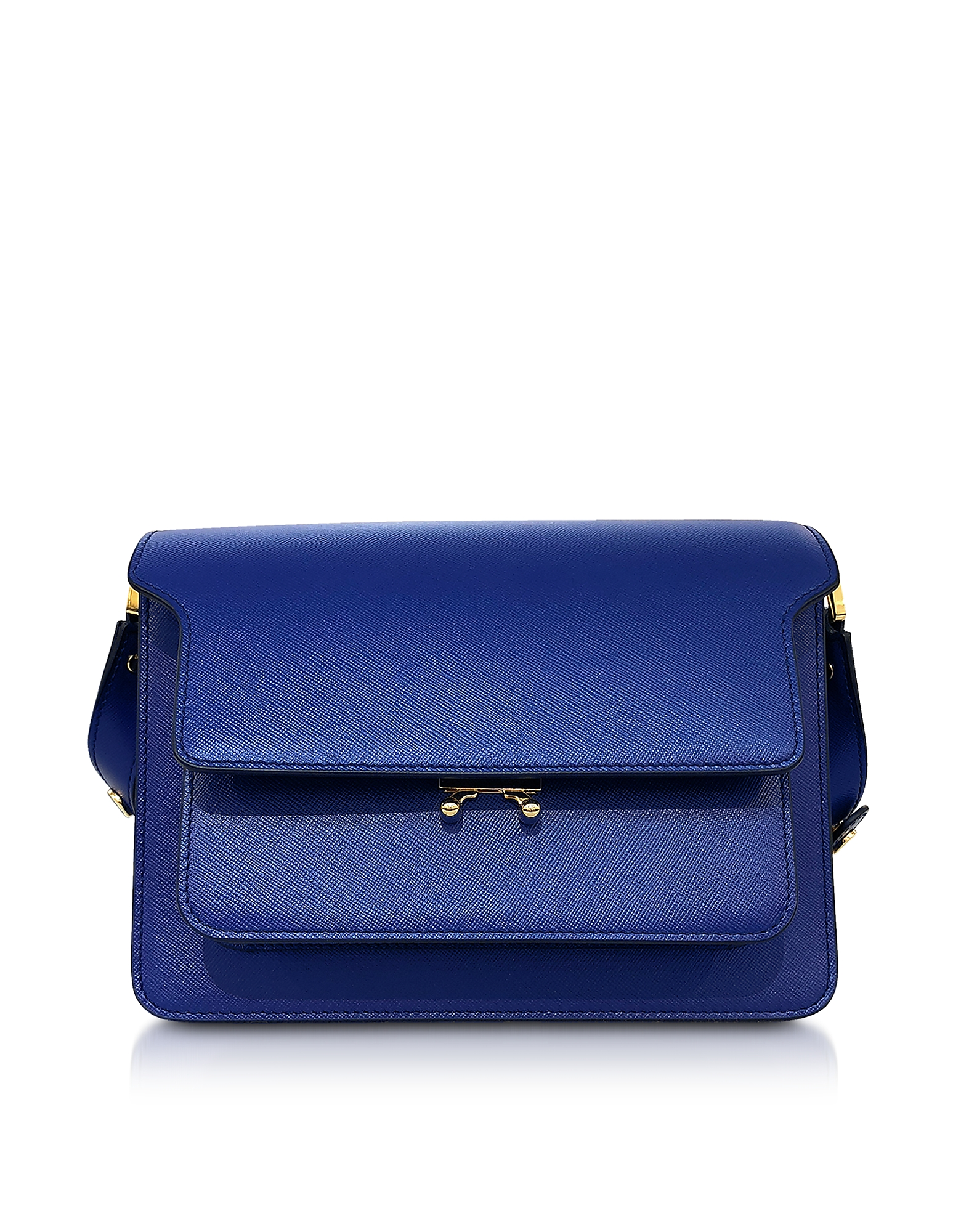Image of Marni Designer Handbags, Bluette Saffiano Leather Trunk Bag