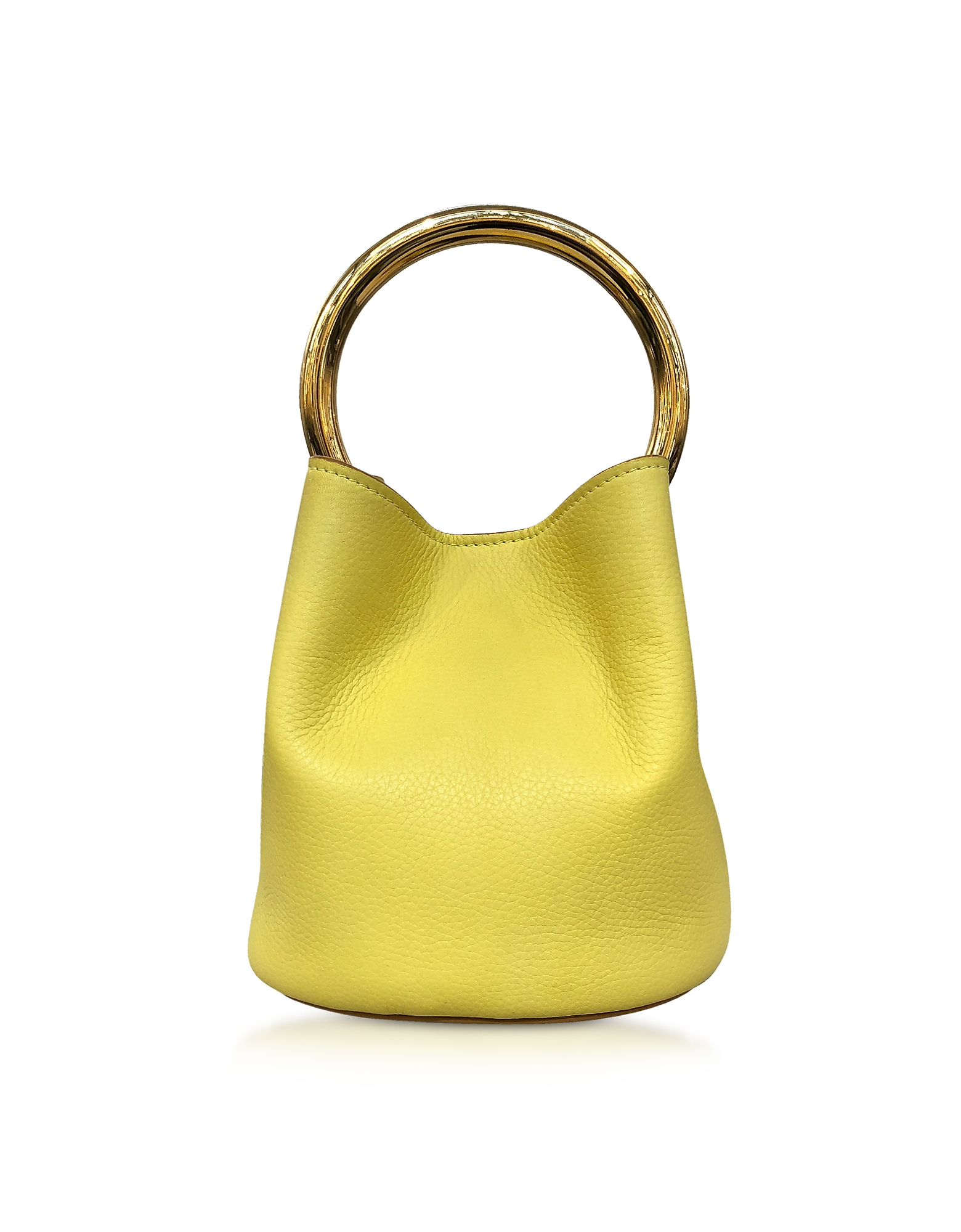 Image of Marni Designer Handbags, Citrus Leather Pannier Bag