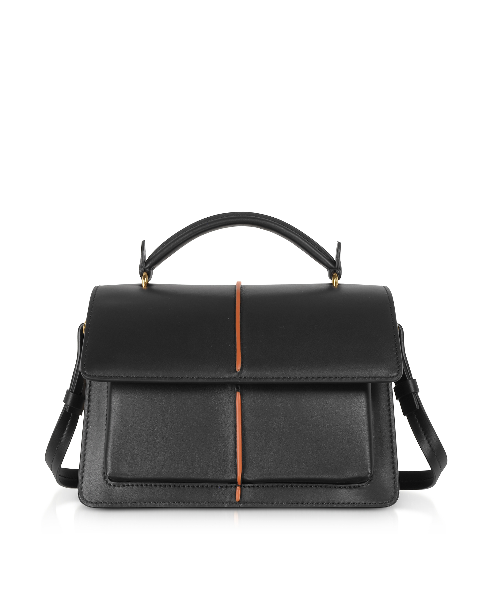 Smooth Leather Top Handle Attaché Bag