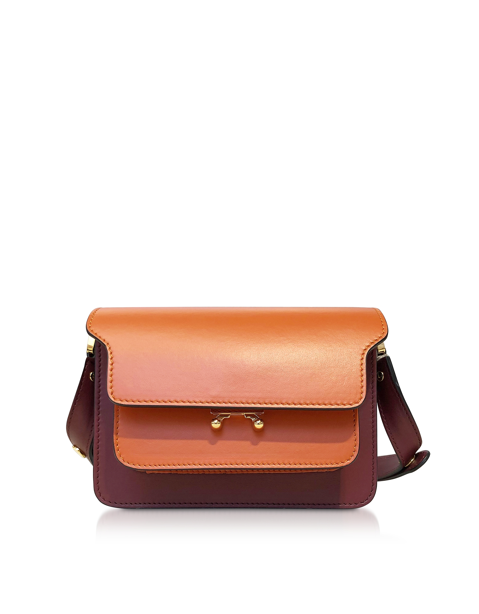 Color Block Leather  Small  Trunk Bag