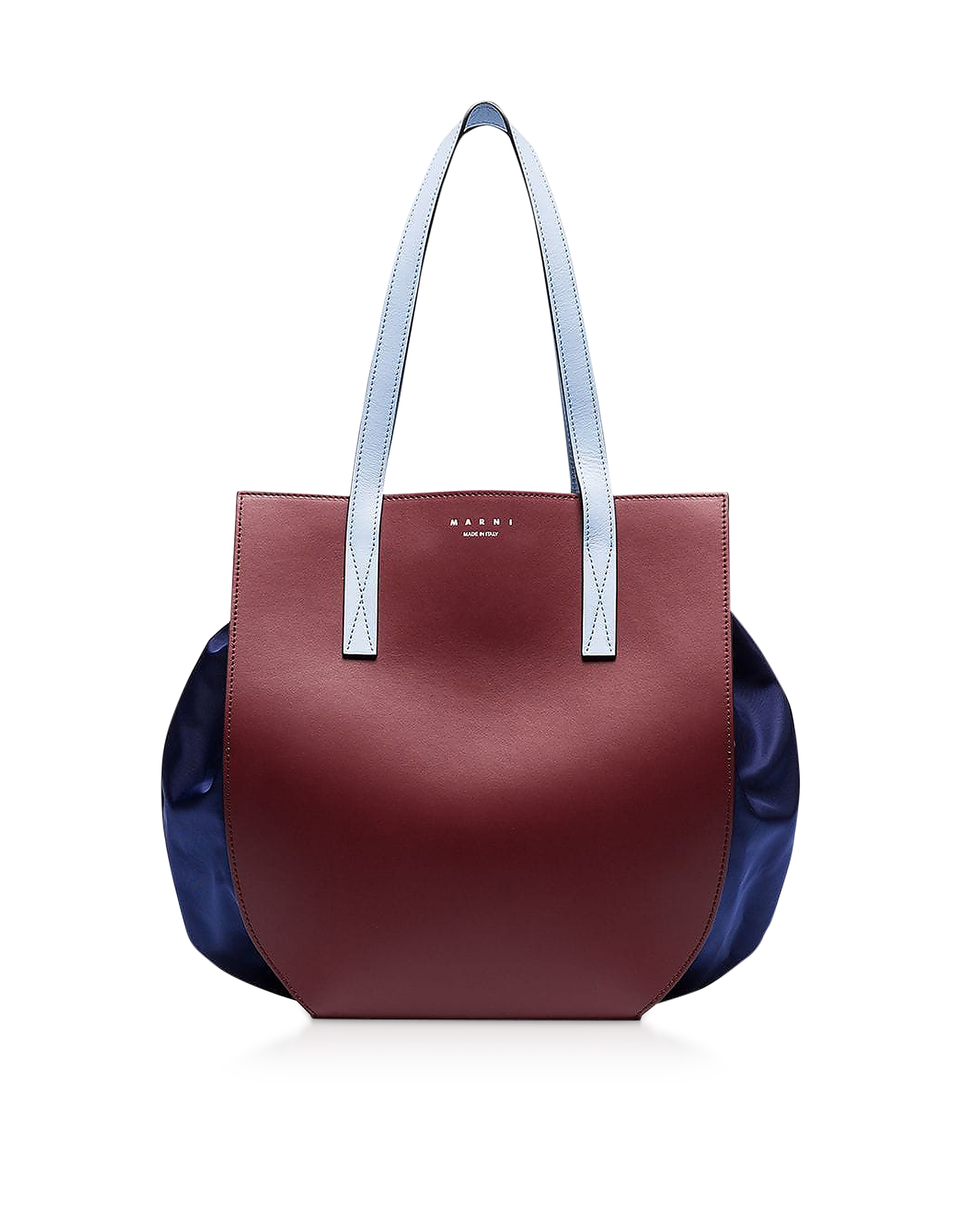 Color Block Leather Tote Bag