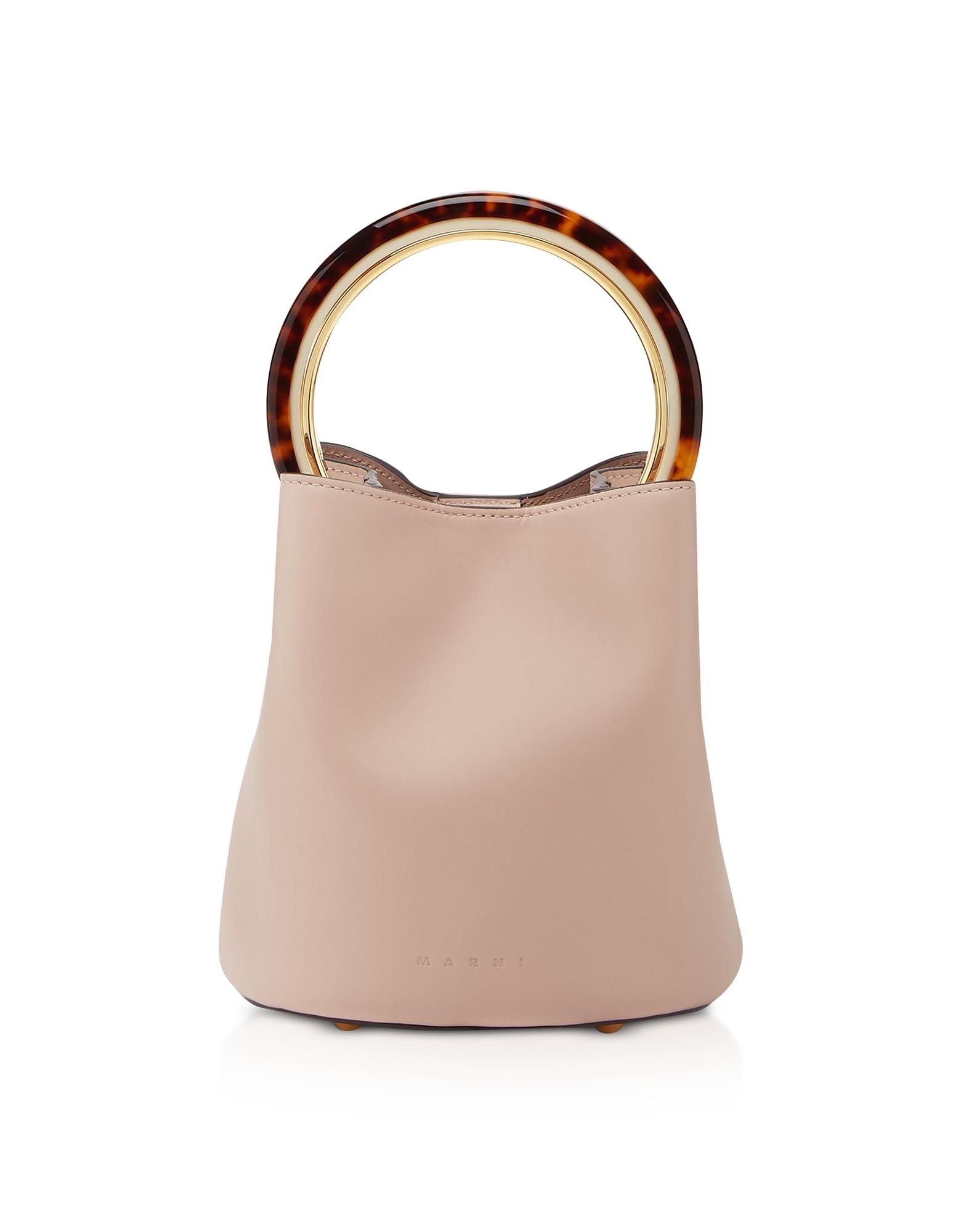 Marni Designer Handbags, Calfskin Pannier Bag W/ Design Handle