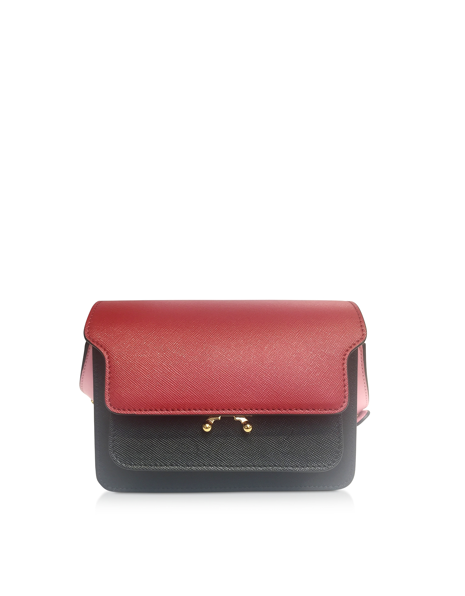 Color Block Leather Trunk Bag