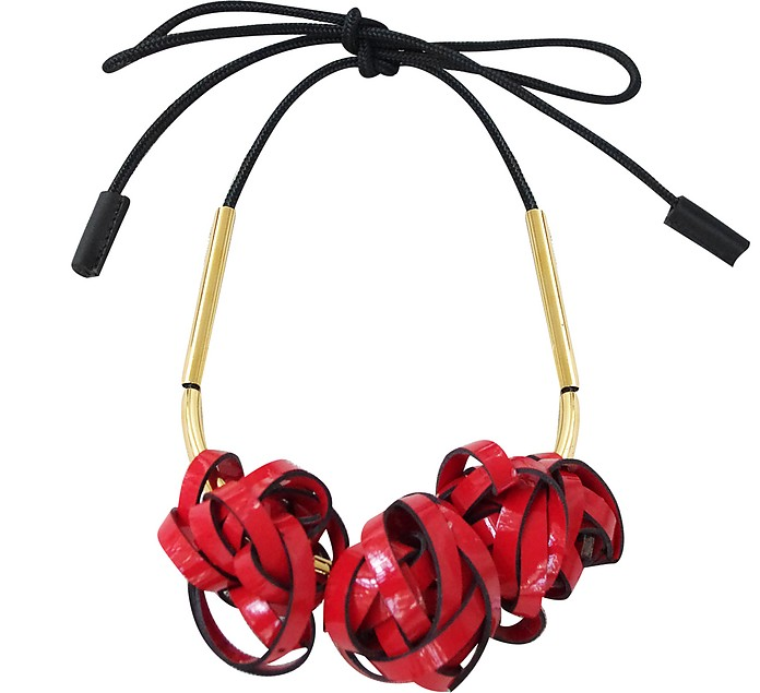 Raspberry Eco Leather Necklace - Marni