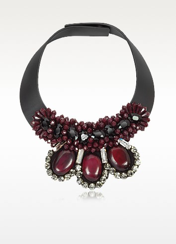 Dark Red Leather and Horn Choker  - Marni