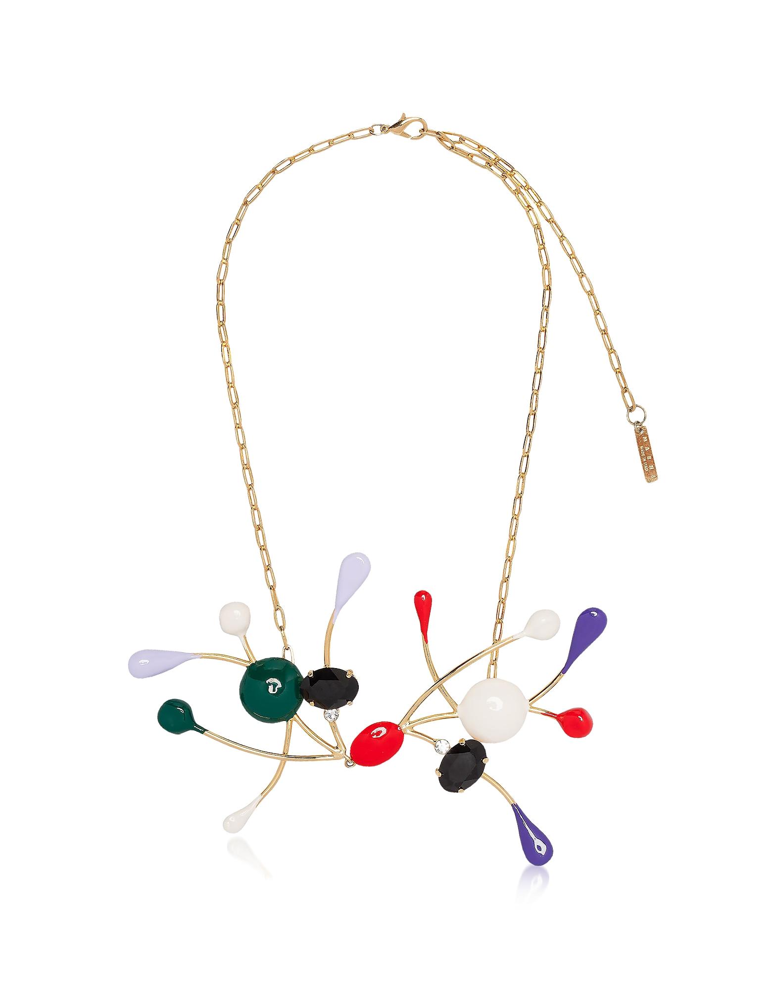 Ожерелье из Золотистого Металла и Эмали с Разноцветными Стеклянными Камнями и Хрусталем Marni