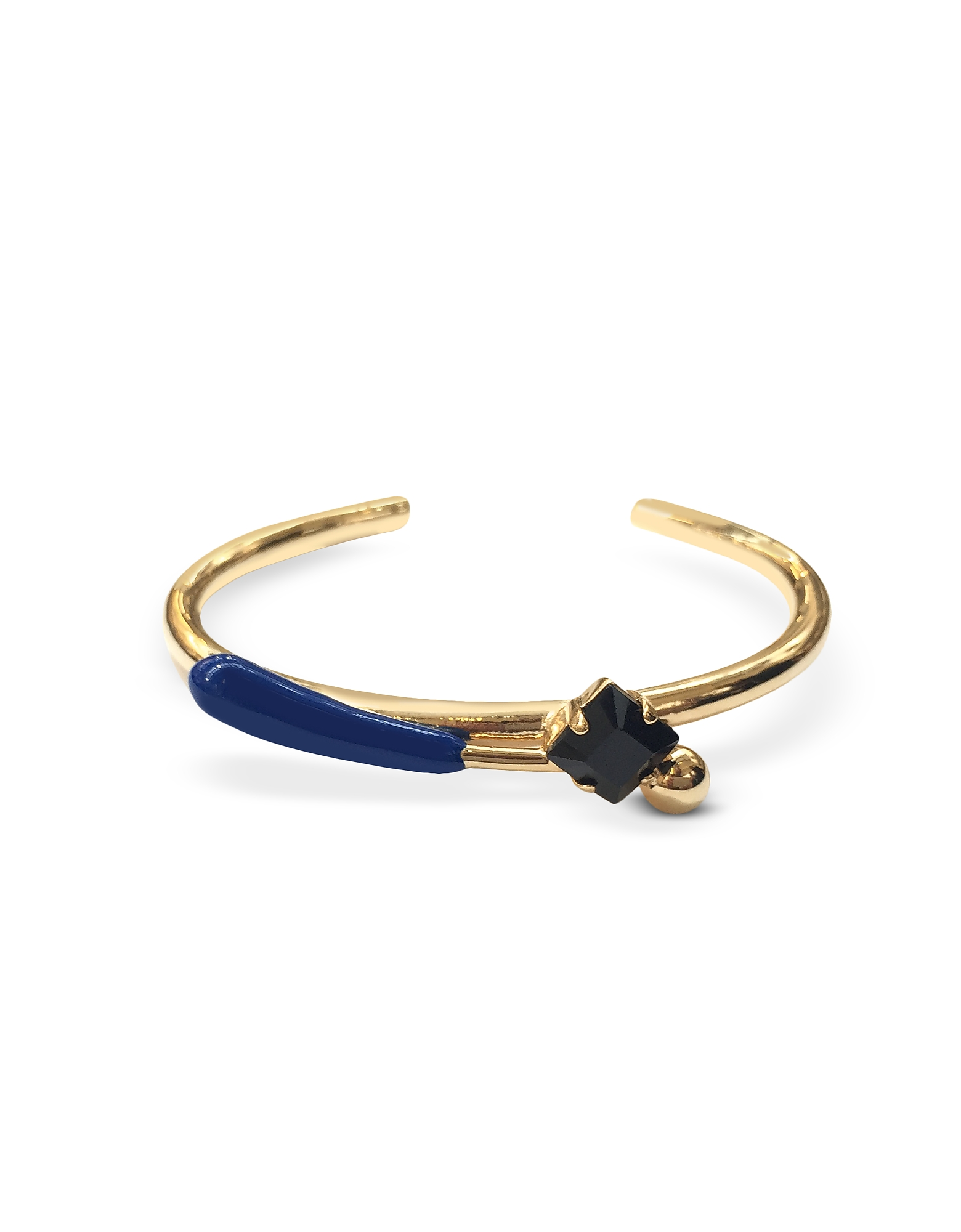 Image of Marni Designer Bracelets, Gold Metal and Mazarine Blue Enamel and Strass Cuff Bracelet