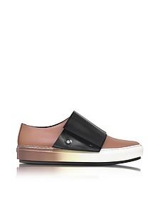 Sneakers Basses en Cuir Beige avec Velcro Noir - Marni