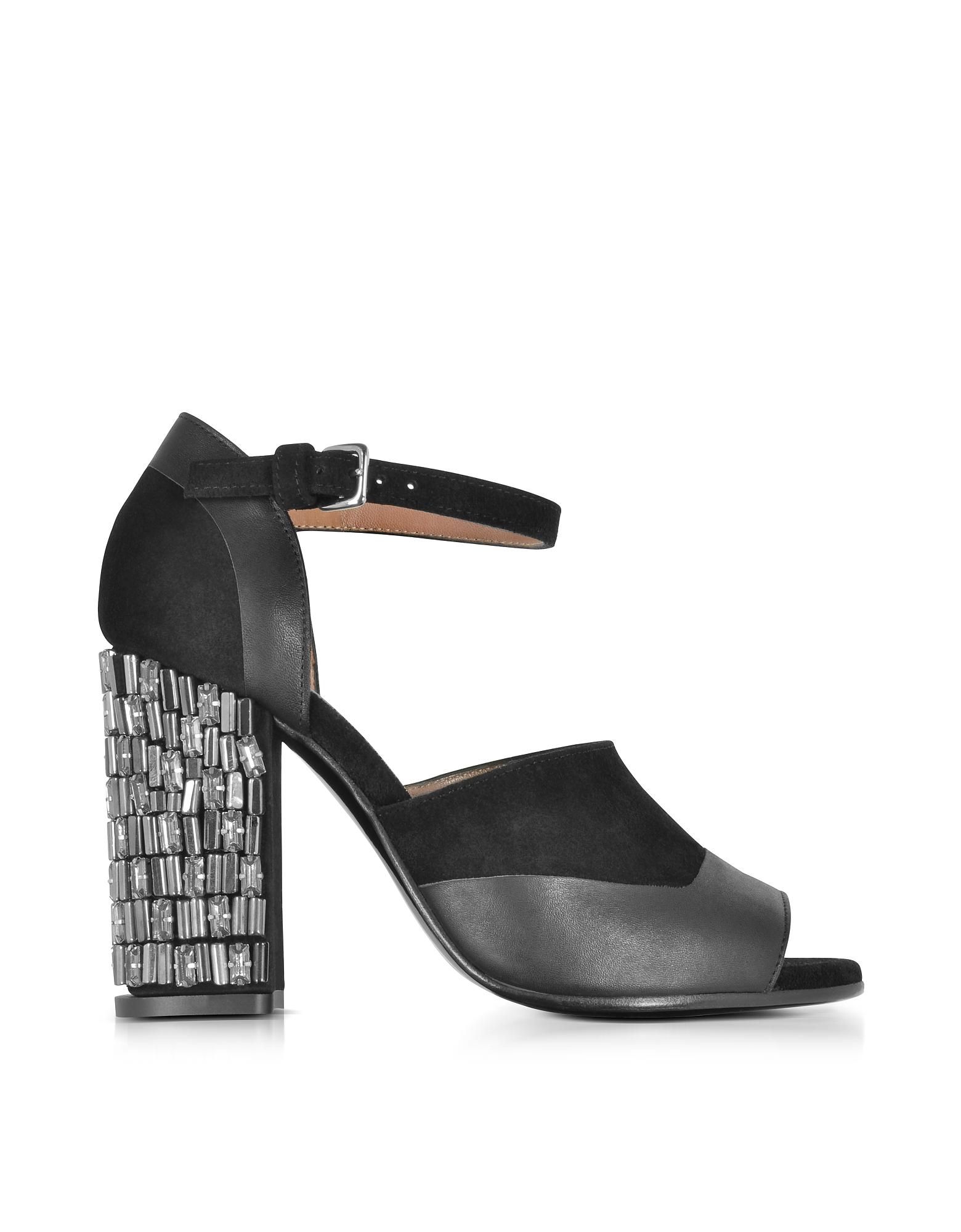 Marni Shoes, Black Velvet and Leather Heel Sandal w/Crystals