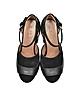 Black Velvet and Leather Heel Sandal w/Crystals - Marni