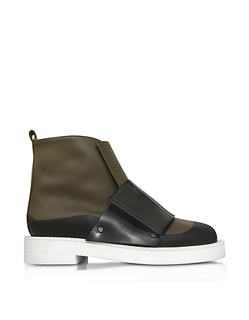 Dark Olive and Black Leather Ankle Boot