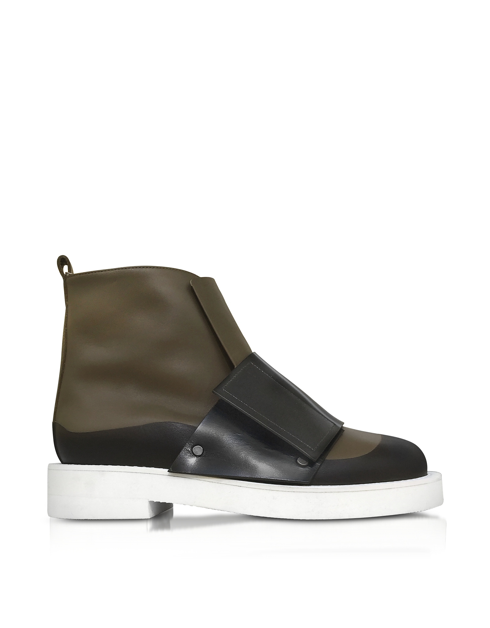 Marni Dark Olive and Black Leather Ankle Boot