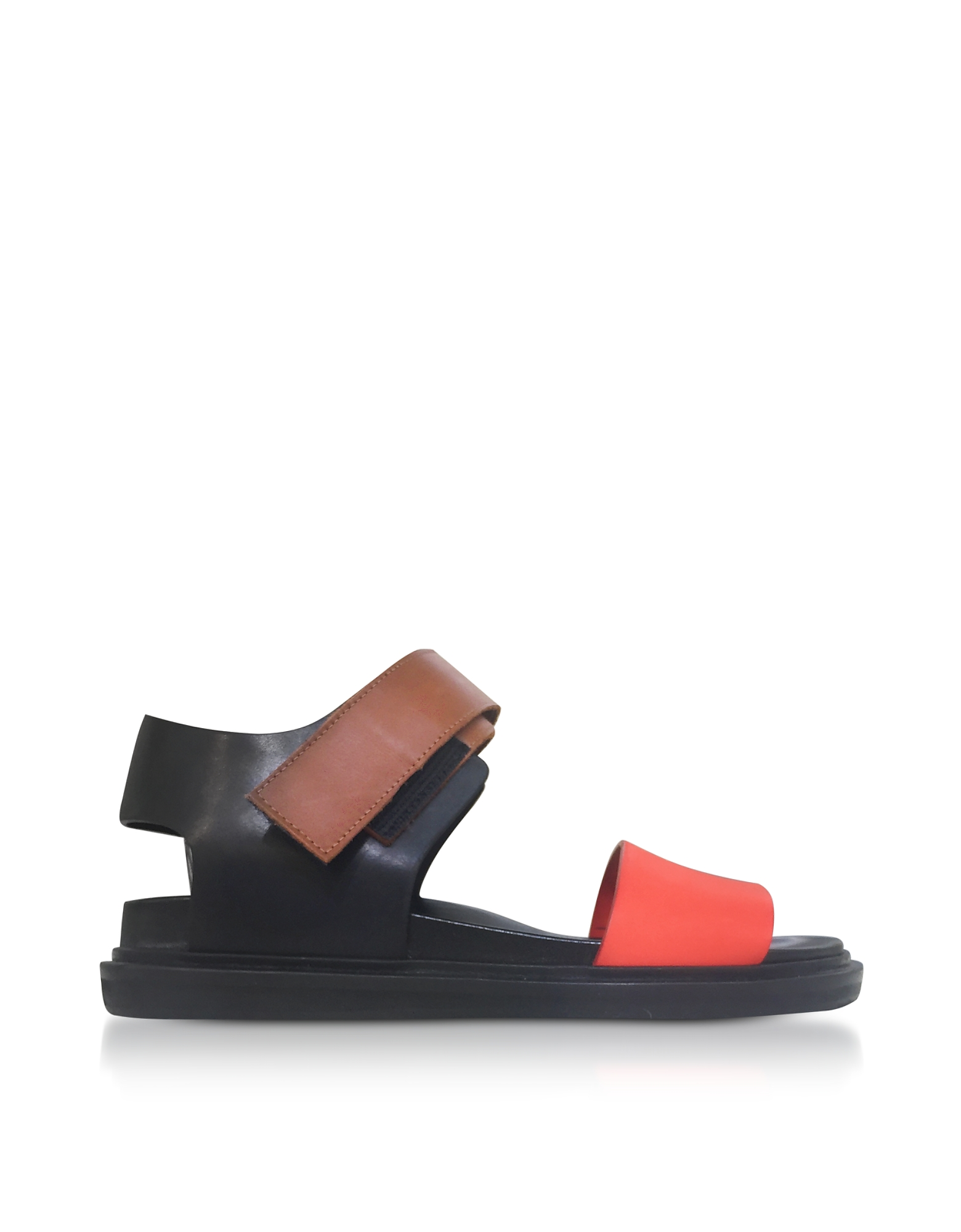 Marni Shoes, Black and Orange Leather Fusbett Sandals