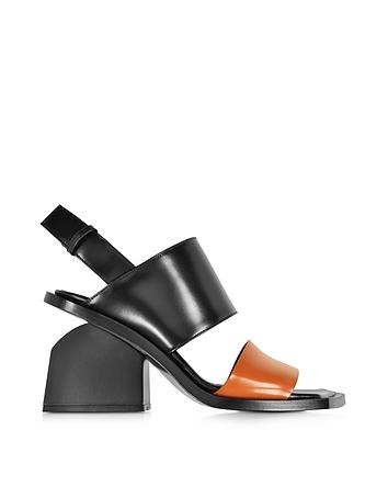 Colorblock Leather Mid-heel Sandal