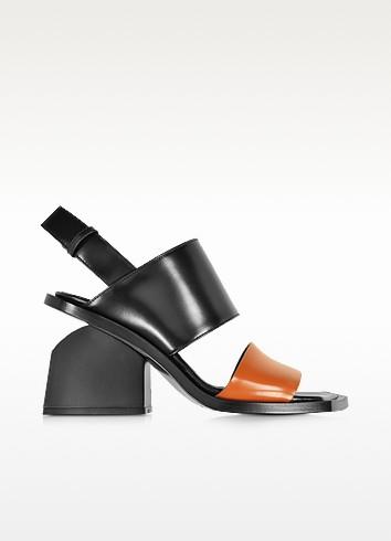 Colorblock Leather Mid-heel Sandal - Marni