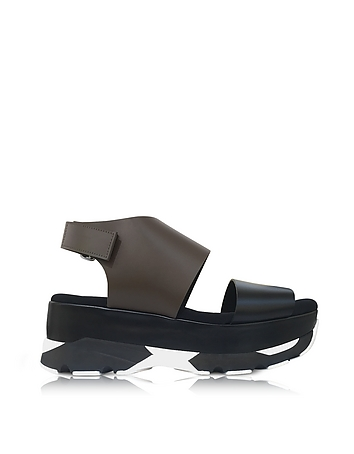 Marni - Dark Olive and Black Leather Wedge Sandals