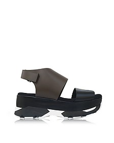 Dark Olive and Black Leather Wedge Sandals - Marni