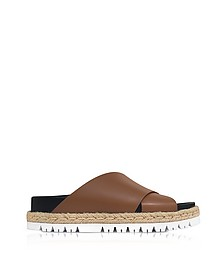 Marron Leather Fusbett Slide Sandals - Marni