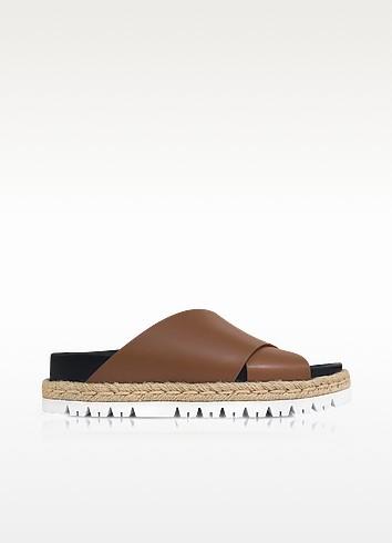 Marron Leather Fussbett Slide Sandals - Marni