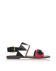 Indian Red, Lily White and Black Leather Sandals - Marni