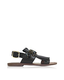 Black Leather Fringed Flat Sandals - Marni