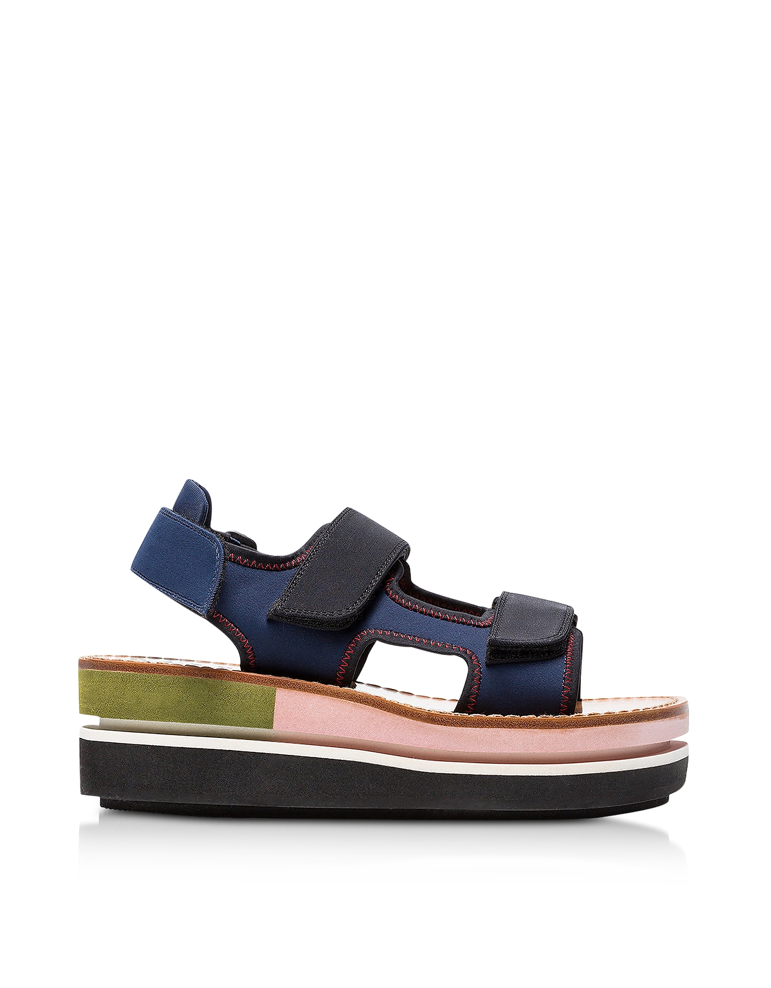 Marni Shoes, Eclipse Blue Neoprene Wedge Sandals