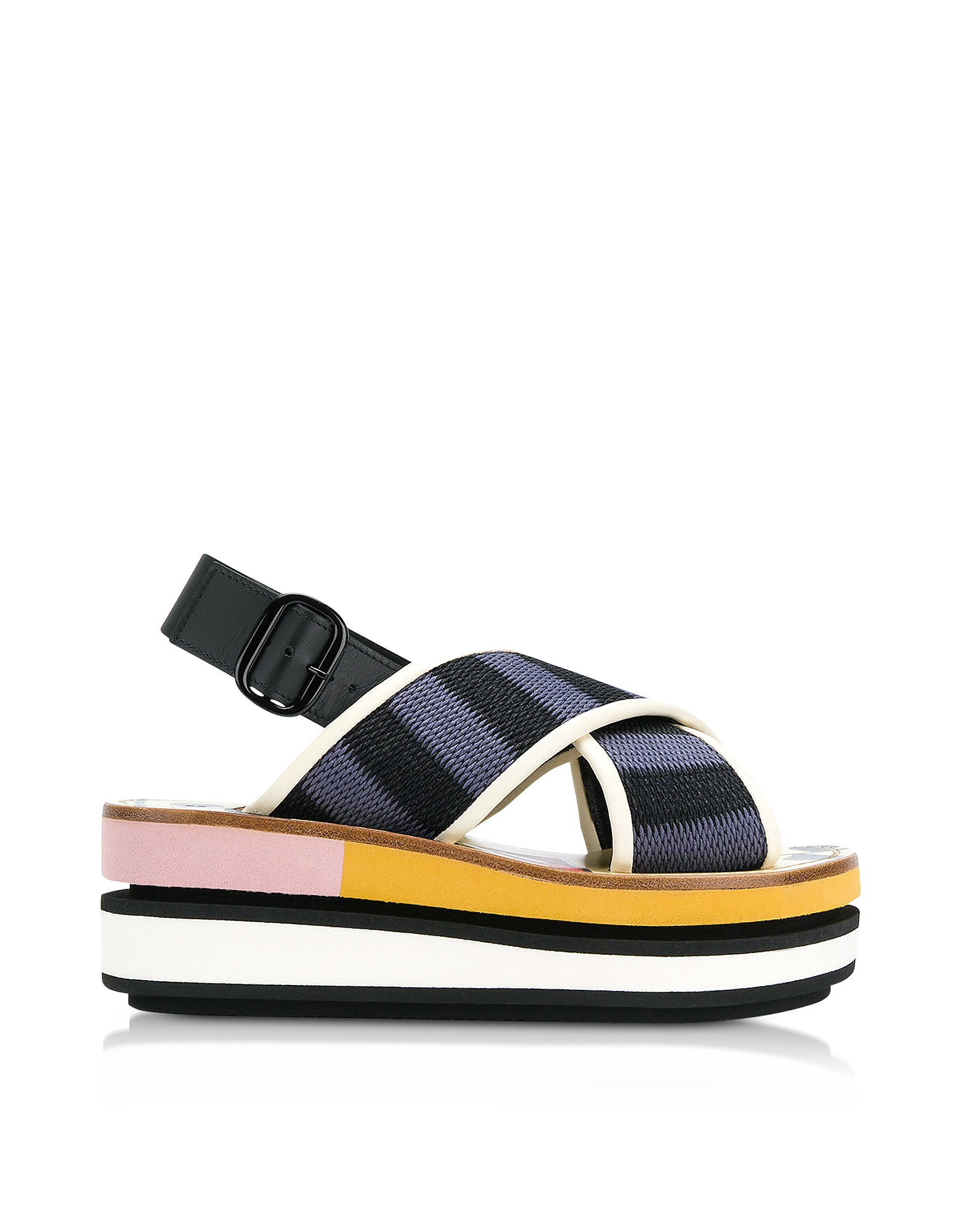 Marni Shoes, Black and Cobalt Blue Cotton Wedge Sandals