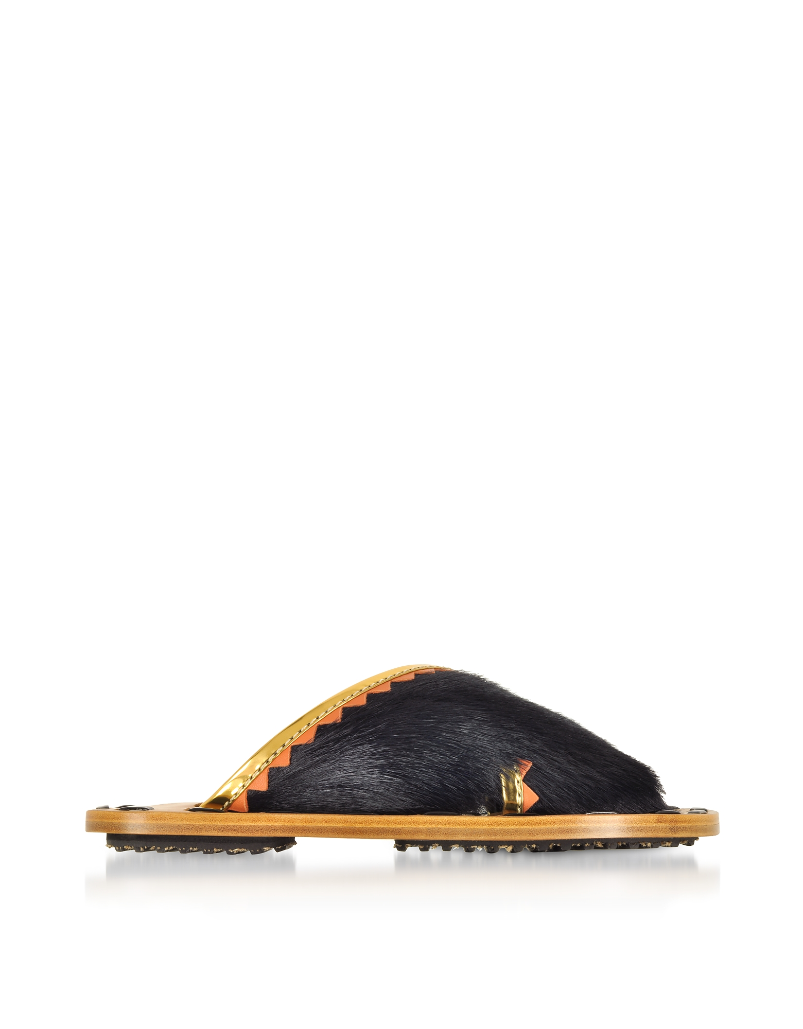 Marni Shoes, Black Haircalf and Laminated Leather Crossover Slide Sandals