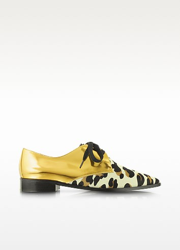 Gold Metallic Leather and Animal Print Haircalf Lace-Up Shoe - Marni