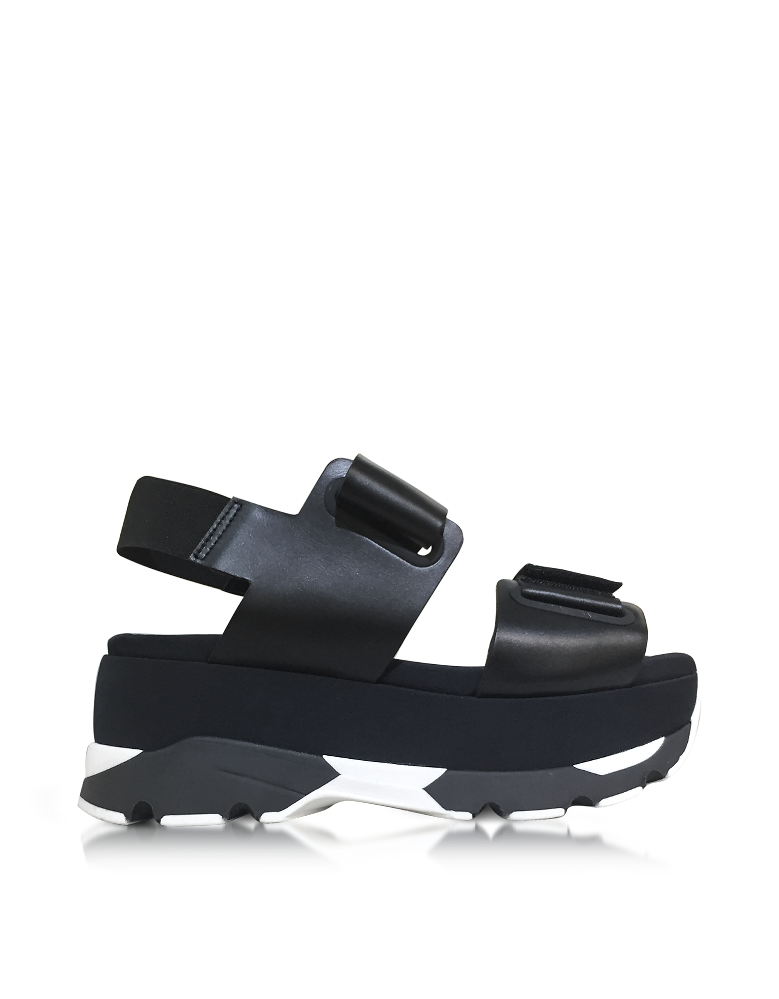 Marni Shoes, Black Leather Wedge Sandals