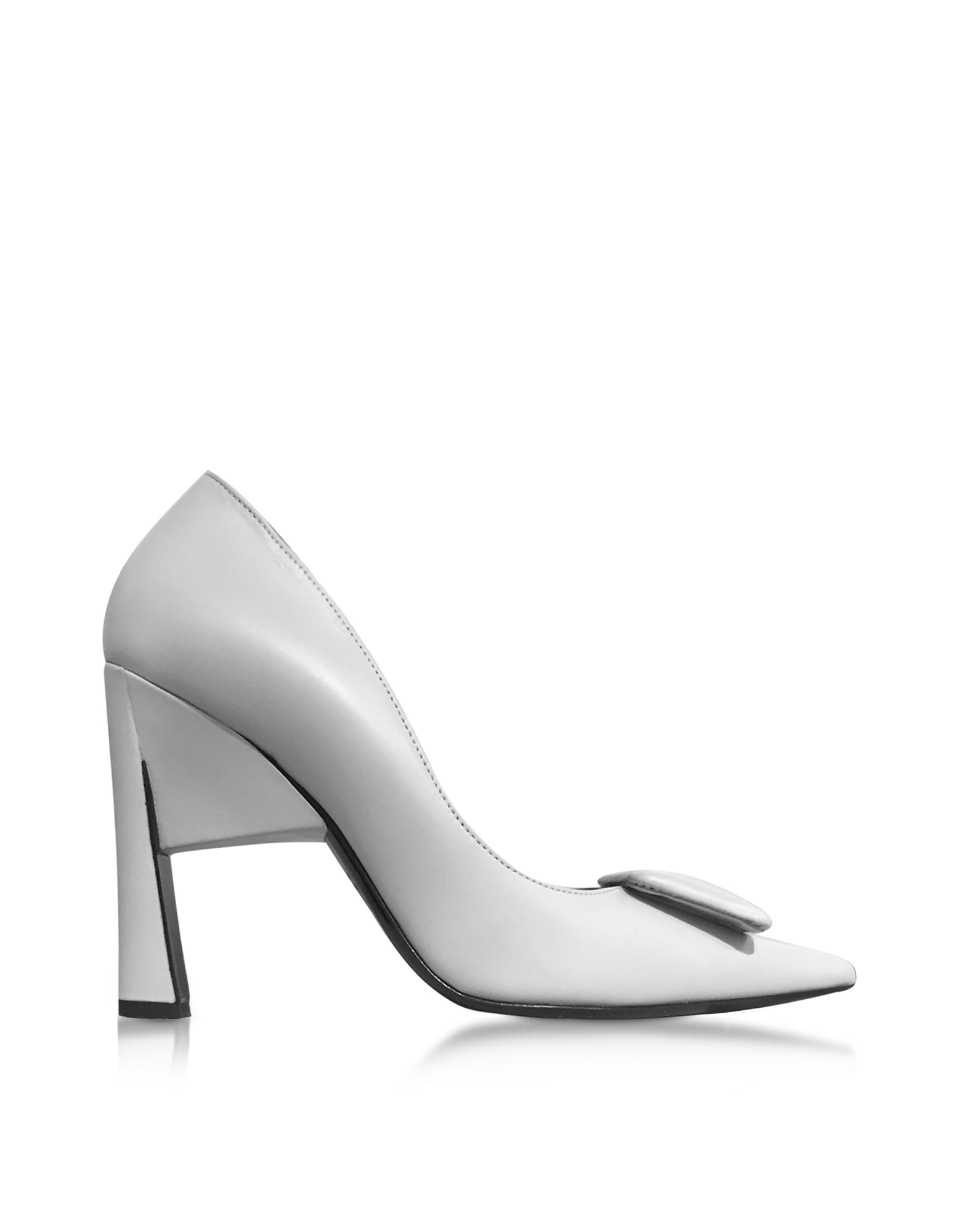 Marni Shoes, Titanium Gray Leather High Heel Pumps