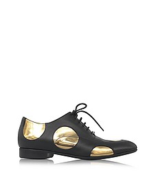 Black Leather Oxford Shoe w/Gold Metallic Polka Dots - Marni