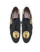 Chaussures Oxford à Lacets en Cuir Noir avec Gros Pois Métallisés Or - Marni