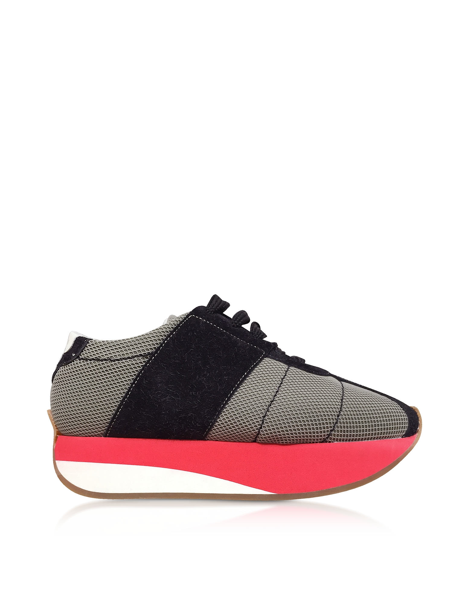 Marni Shoes, Grass and Black Tech Fabric Big Foot Sneakers