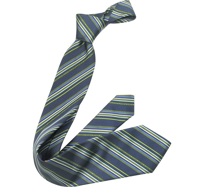 Signature Striped Silk Tie - Moschino