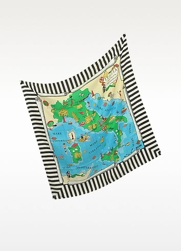 Fancy Map Printed Silk Square Scarf - Moschino