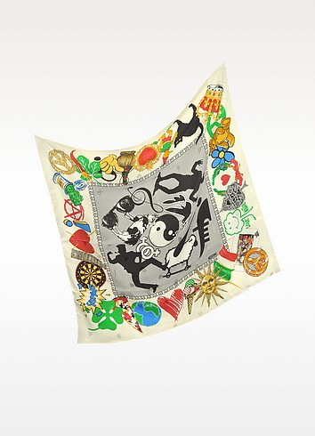 Save Nature Printed Silk Square Scarf - Moschino