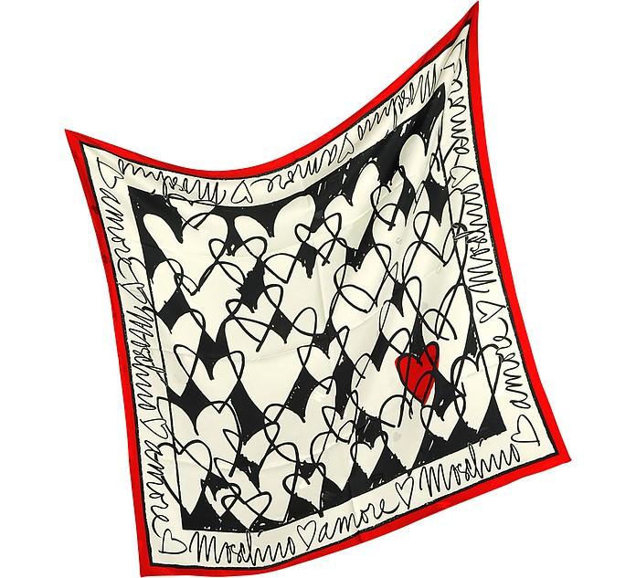 Archivio Moschino - Heart Print Silk Square Scarf - Moschino